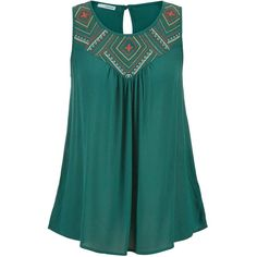 maurices Sleeveless Top With Embroidery And Keyhole Back ($22) ❤ liked on Polyvore featuring tops, mountain teal, teal tank top, blue sleeveless top, embroidered tank top, sleeveless tank tops and embroidered tank