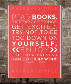 INSTANT DOWNLOAD Hank Green Reading Quote Poster by artkeptsimple