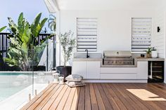 |The perfect addition to any home; a built in bbq area ⚡️ Design House Inspo, Home, Outdoor Kitchen Design, Outdoor Entertaining Area, House Styles, Outdoor Kitchen, New Homes, Outdoor Rooms, House