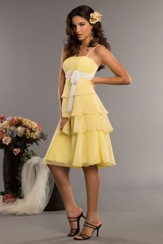 Love this color for a spring wedding…Spaghetti straps chiffon bridesmaid dress with empire waist
