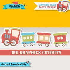 Instant Download - Vintage Choo Choo Train Birthday Party Large Graphics Cutouts - Chugga Chugga Train Graphics Printable PDF File by ByLolaPrintables
