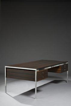 Preben Fabricius and Jørgen Kastholm; Rosewood and Chromed Metal Desk for Alfred Kill International, 1963.