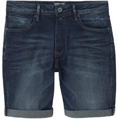 Dark Denim Bermuda Shorts (£20) ❤ liked on Polyvore featuring men's fashion, men's clothing, men's shorts, shorts, short, zipper shorts, short shorts, dark denim shorts, bermuda shorts and mango shorts