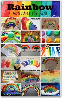 Rainbow activities: 20 fun and colorful RAINBOW activities & crafts for kids. patricks day ideas for kids classroom Rainbow Activities for Toddlers and Young Children Painting Activities, Color Activities, Toddler Activities, Preschool Activities, Preschool Weather, Rainbow Activities, Spring Activities, Rainbow Games, Kids Rainbow