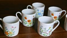 Six vintage flower stamped mini espresso cups in white