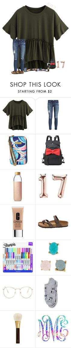 """•run wild•"" by mackenzielacy814 on Polyvore featuring AG Adriano Goldschmied, Lilly Pulitzer, Soma, Clinique, Birkenstock, BaubleBar, Glance Eyewear, Charlotte Russe, E + J and Tom Ford"