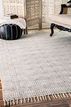Flatweave Cotton Sparkling Moroccan Tribal Trellis Ivory Area Rugs 7 Feet