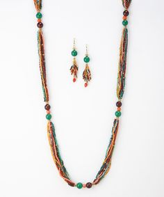 Look what I found on #zulily! Orange & Turquoise Strand Station Necklace & Drop Earrings by Pavcus Designs #zulilyfinds