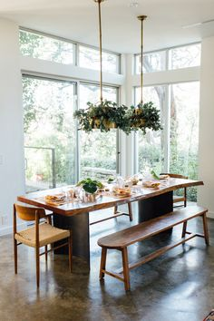 Austin texas home dining table with bench, farmhouse dining room table, dining area, Dining Room Table Decor, Dining Room Design, Dining Furniture, Kitchen Dining, Dining Tables, Dining Rooms, Furniture Ideas, Furniture Makeover, Furniture Design