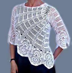 Suéter/blusa de ganchillo de las mujeres por InnaDavi en Etsy