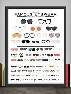 Pop Chart Lab --> Design + Data = Delight --> The Chart of Famous Eyewear Poster