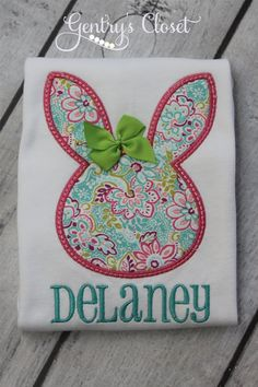 Easter bunny shirt with name. Spring floral print rabbit head with 3D bow. Infant bodysuit, little, baby girl shirt with personalized name. on Etsy, $24.00