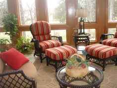 Outdoor wicker, perfect for the sunroom.