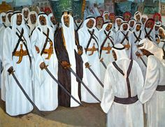 2. Safeya Binzagr - Title:King Faisal at a Najdi dance Medium: Oil on Canvas Year: 1969