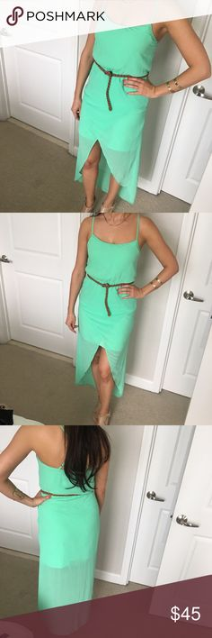 💕 Gorgeous ZARA Neon Mint Green High Low Dress 💕 Great condition. Stand out with this beautiful color dress. One of the best princes from Zara. Zara Dresses High Low