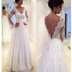 Long Sleeve V-Back Lace A-line Vintage Romantic Plush Size Wedding Dress. RG0182