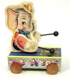 Cute Vintage American Preschool wooden musical Elephant Pull Toy.
