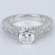 Check out the amazing detail in this recently purchased Custom Vintage Floral Engagement Ring with Milgrain!