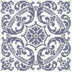 Filet cross stich blue square grid