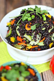 Black Rice Vegetable Stir Fry| PetiteAllergyTreats- Gluten free, Vegan  Black rice salad is packed full of nutrients #rice, #salad, #vegetable, #asian
