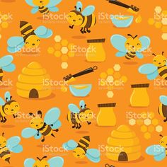 Cute Honey Bee Seamless Pattern Background royalty-free stock vector art