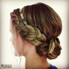 Hair and Make-up by Steph Boho braid updo w/ | http://headbandcollections.blogspot.com
