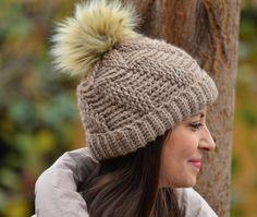 Women pom pom hat, knitted beanie women, winter hat brown, alpaca hat women, crochet beanie wih pom pom, gift for woman by NanaHats on Etsy (null)