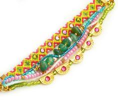 OOAK Gemstone,Swarovski,Bohemian Indian Boho Chic Gypsy Hippie Style Multiple Strands Beaded Friendship Bracelet Set Of 6
