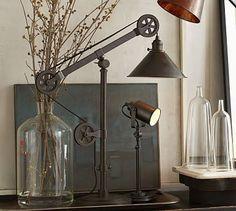 Warren Pulley Task Table Lamp #potterybarn $250.00. On piano.