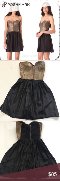 Parker Copper Leather Corset Dress Re-Posh Parker dress, brand new, selling as it's big on me, quilted leather bodice, structured top with flattering silk skirt, was named Host Pick from the original Posher's closet, sold out everywhere, retail $396 Parker Dresses Strapless