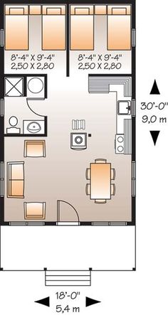 Family Home Plans offers the lowest prices on cabin house plans, featuring porches, decks, and screened rooms. Find your cabin house plans today! 2 Bedroom House Plans, Cabin House Plans, Cottage Style House Plans, Cottage Style Homes, Small House Plans, House Floor Plans, Cottage Plan, Drummond House Plans, Apartment Plans