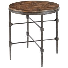 Bernhardt Occasional Everett End Table with Wood Top and Metal Base
