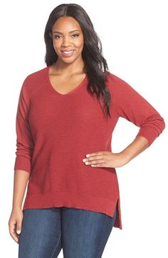 Eileen Fisher Rib Knit Wool V-Neck Top (Plus Size) available at #Nordstrom