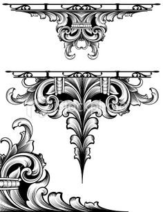 Baroque Scroll engraving Elements Royalty Free Stock Vector Art Illustration