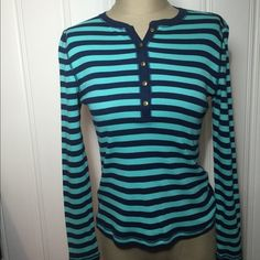 """Make Offer-$32 Bundle-Blue/Teal Striped Top-NWT Navy Blue and Teal Striped Top with partial button down... New With Tag. Made of 100% cotton...machine washable This is oh so soft and very stretchy. Measures 16"""" across bust line from armpit to armpit, 22.5"""" in length and 22.5"""" sleeves. All reasonable offers accepted. NO TRADES/NO PAYPAL. MSRP is $49. Chaps Tops Tees - Long Sleeve"""