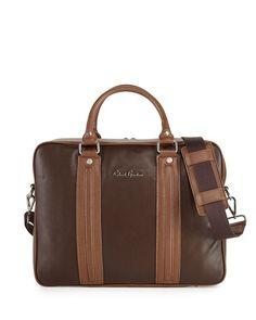 Robert Graham Leather Roman Laptop Brief Bag Brown