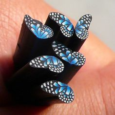 Polymer Clay Cane - Black and Blue Butterfly (Half) - for Miniature Food / Dessert / Cake / Ice Cream Sundae Decoration and Nail Art CBTH2