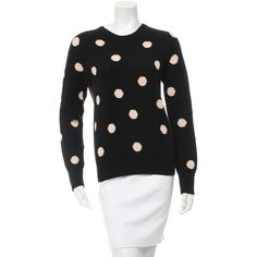 Pre-owned Equipment Polka Dot Wool Sweater ($85) ❤ liked on Polyvore featuring tops, sweaters, black, wool crew neck sweaters, polka dot top, crew top, dot sweater and crewneck sweaters