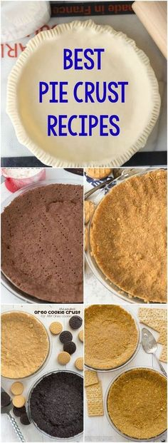 Everyone needs some Pie Crust Recipes! These no-bake cookie pie crust and baked pastry crust recipes are perfect for every pie recipe. Best Pie Crust Recipe, Pie Crust Recipes, Pie Crusts, No Bake Cookies, Cookies Et Biscuits, Baking Cookies, Chip Cookies, Baking Pies, Pie Dessert