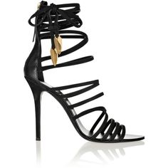 Giuseppe Zanotti Mortisia leather sandals (£460) ❤ liked on Polyvore featuring shoes, sandals, heels, sapatos, giuseppe zanotti, black, ankle strap high heel sandals, black shoes, ankle strap sandals and leather ankle strap sandals