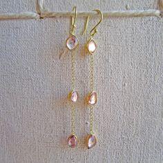 Sarah Perlis Jewelry — Rose cut sapphire three drop earrings