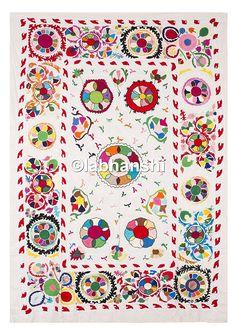 couvre lit amazon Indien Suzani brodé mur antique soie Couverture main Broderie  couvre lit amazon