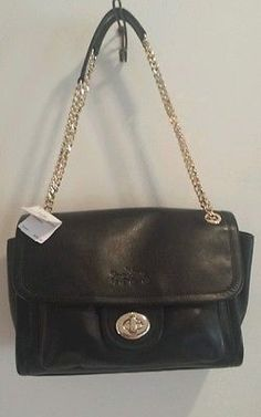 New Coach Large Black Leather Ranger Crossbody Shoulder handbag. Turn Lock.