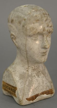 """White glazed Chalkware Phrenology head, late 19th century American with paper label """"Phrenology"""", """"Approved by Samuel R. Wells New York"""""""