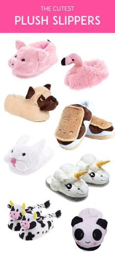 Keep your feet cozy and cute with this collection of the cutest plush slippers you can have. Includes unicorns, pandas, and flamingo plush slippers.