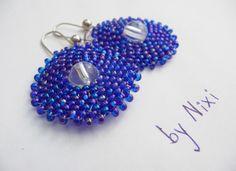 """Náušnice """"Modrá kolečka"""" Elegantní kruhové náušnice s afro háčkem Rozměry: 3 x 3 cm"""