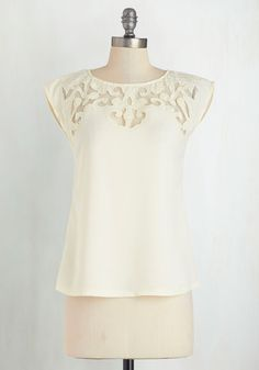 Pottery Date Top in Ivory. Display your elegant style in this ivory top as you work on your sculptural skills with your sweetie! #cream #wedding #modcloth