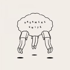 Matt Blease dreamers unite illustration and lettering Art And Illustration, Matt Blease, Posca Art, Typography, Lettering, Art Inspo, Line Art, The Dreamers, Art Drawings