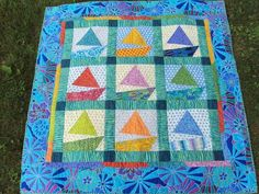 The sailboats are paper pieced! This is a very happy quilt! Bright Quilts, Colorful Quilts, Small Quilts, Quilt Baby, Boy Quilts, Quilting Tips, Quilting Designs, Nautical Quilt, Sewing Projects