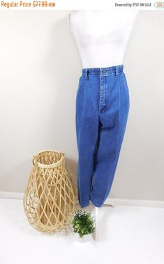 A Vintage  80s  90s  Alfred Dunner  Denim  Blue  Wool  Sheath  Skirt  Made in USA  Gift